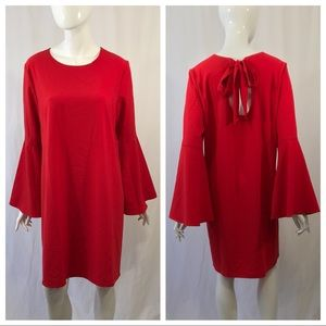 Halogen Tie Back Shift Dress Red Bell Sleeve